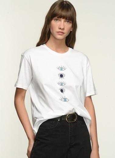 NGSTYLE Kadın Baskılı  Tişört NGKSS21TS0034 Beyaz